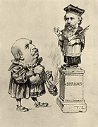 Eduard Hanslick (1825-1904) Austrian music critic, worshipping Brahms on a pedestal. Hanslick supported Schumann and Brahms against Wagner. Caricature. Halftone.