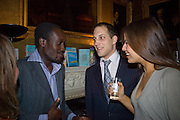 MUSA OKWONGA, LORD FREDDIE WINDSOR AND SOPHIE WINKLEMAN. Book launch for 'In search of the English Eccentric' by Henry Hemming. 50 Albermarle St. London. W1S 4BD *** Local Caption *** -DO NOT ARCHIVE-© Copyright Photograph by Dafydd Jones. 248 Clapham Rd. London SW9 0PZ. Tel 0207 820 0771. www.dafjones.com.