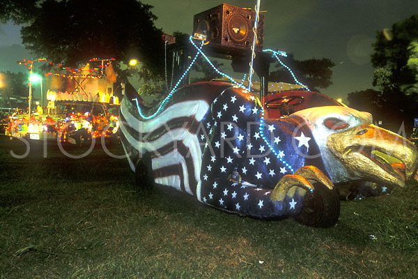 Stock photo of an eagle and flag decorated car