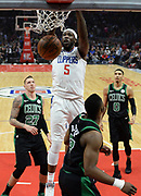 LA Clippers forward Montrezl Harrell #5 dunks the ball in the first half. The Los Angeles Clippers played the Boston Celtics in a regular season NBA matchup in Los Angeles, CA 1/025/2018 (Photo by John McCoy, Los Angeles Daily News/SCNG)