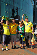 Picture by Paul Chesterton/Focus Images Ltd.  07904 640267.1/10/11.One family consisting of four generations of Norwich fans outside Old Trafford before the Barclays Premier League match at Old Trafford Stadium, Manchester.