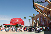 ANAHEIM, CA - JUNE 05:  General view of the stadium exterior and main entrance as fans get in line for the Los Angeles Angels of Anaheim game against the New York Yankees on June 5, 2011 at Angel Stadium in Anaheim, California. The Yankees won the game 5-3. (Photo by Paul Spinelli/MLB Photos via Getty Images)