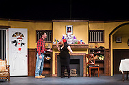 "Middletown, New York - The SUNY Orange Apprentice Players perform during a rehearsal of ""Food for the Dead""  by Josephina Lopez at Orange Hall Theatre on the College's Middletown campus on April 13, 2016."