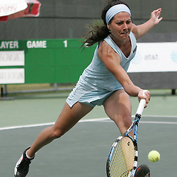 Margalita Chakhnashvili returns the shot of Carly Gullickson during the finals of singles competition at the AT&T $25,000 Challenger USTA Pro Women's Tennis Circuit Tournament played on March 30, 2008 at Oak Knoll Country Club in Hammond, LA. Gullickson defeated Margalita in three sets 6-4, 4-6, 6-4 to win the AT&T 25K Challenger...