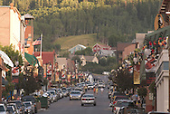 evening view up Main Street, Park City, Utah USA in summer