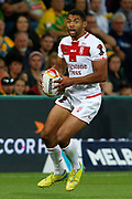 Kallum Watkins of England dances with the ball during the Rugby League World Cup match between Australia and England at Melbourne Rectangular Stadium, Melbourne, Australia on 27 October 2017. Photo by Mark  Witte.