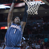 19 November 2010: Charlotte Bobcats' shooting guard #1 Stephen Jackson dunks the ball during the Miami Heat 95-87 victory over the Charlotte Bobcats at the AmericanAirlines Arena, Miami, Florida, USA.