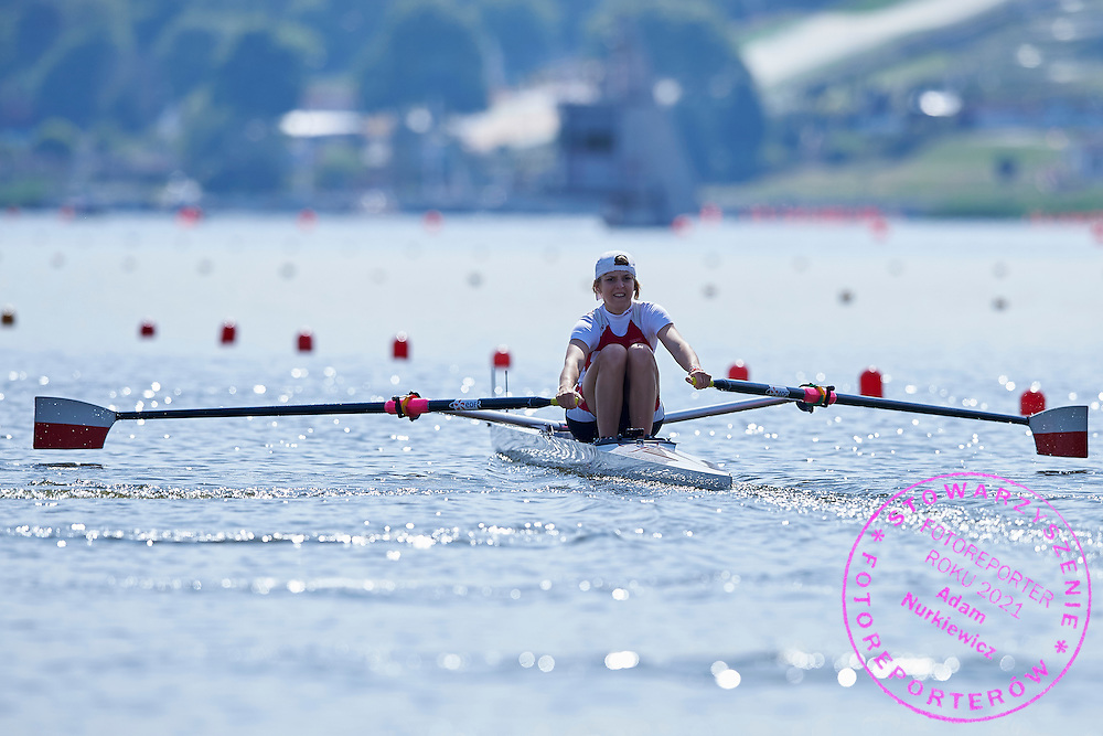 Katarzyna Welna of Poland competes at Lightweight Women&rsquo;s Single Sculls (LW1x) during first day the 2015 European Rowing Championships on Malta Lake on May 29, 2015 in Poznan, Poland<br /> Poland, Poznan, May 29, 2015<br /> <br /> Picture also available in RAW (NEF) or TIFF format on special request.<br /> <br /> For editorial use only. Any commercial or promotional use requires permission.<br /> <br /> Mandatory credit:<br /> Photo by &copy; Adam Nurkiewicz / Mediasport