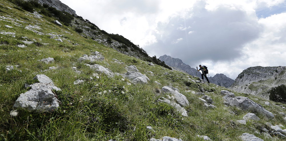 Kenan climbing towards Maja Jezerces, Prokletije, Albania.