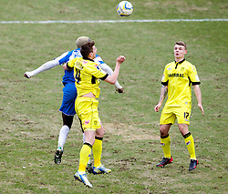 COLCHESTER, ENGLAND - Saturday, February 23, 2013: Tranmere Rovers' Ash Taylor and Max Power in action against Colchester United's Jabo Ibehre during the Football League One match at the Colchester Community Stadium. (Pic by Vegard Grott/Propaganda)