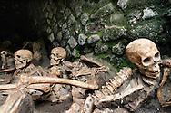 Ercolano, Italia - 23 novembre 2012. Scheletri di antichi romani ritrovati sulla spiaggia degli scavi archeologici di Ercolano (Herculaneum). In tantissimi tentarono la fuga dall'eruzione del Vesuvio via mare. Il sito archologico di epoca romana, patrimonio dell'Unesco, distante solo pochi km da Pompei, ha riportato alla luce tesori antichi di inestimabile valore. A differenza di Pompei, ad Ercolano sono stati ritrovati reperti organici ed in legno che hanno permesso agli archeologi di studiare in modo più approfondito le abitudini dell'epoca. Ph. Roberto Salomone Ag. Controluce.ITALY - Skeletons found inside a boathouse on the beach of the archeological site of Herculaneum on November 23, 2012. The world heritage site of roman age, just a few miles away from Pompeii has brought to life treasures that made it possible for archeologists to study in a more detailed way the lifestyle of ancient romans.