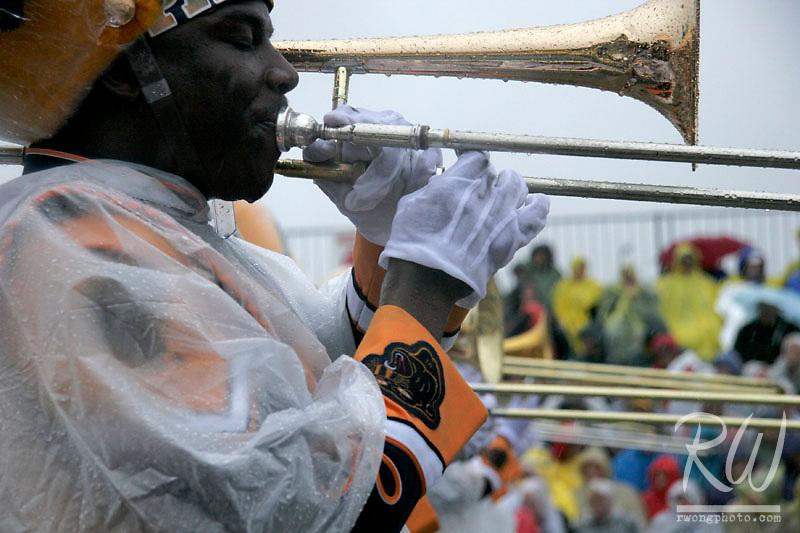 Trombone Player Playing in Rain at 2006 Tournament of Roses Parade, Pasadena, California