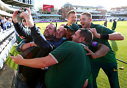 Samit Patel and Stuart Broad of Nottinghamshire pose for a selfie with fans after their side's win over Surrey in the Royal London One Day Cup Final - Mandatory by-line: Robbie Stephenson/JMP - 01/07/2017 - CRICKET - Lord's Cricket Ground - London, United Kingdom - Nottinghamshire v Surrey - Royal London One-Day Cup Final 2017