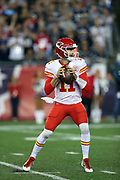 Kansas City Chiefs quarterback Alex Smith (11) throws a 7 yard first quarter touchdown pass that ties the score at 7-7 during the 2017 NFL week 1 regular season football game against the New England Patriots, Thursday, Sept. 7, 2017 in Foxborough, Mass. The Chiefs won the game 42-27. (©Paul Anthony Spinelli)