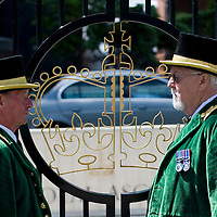 Ascot June16 Two Green guards at the main gate of Ascot racecourse on the first day of Royal Ascot...***Standard Licence  Fee's Apply To All Image Use***.Marco Secchi /Xianpix. tel +44 (0) 845 050 6211. e-mail ms@msecchi.com or sales@xianpix.com.www.marcosecchi.com