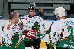 Luka Simsic, Jure Penko and Bojan Zajc during ice-hockey friendly match between legends of HDD Tilia Olimpija and HK Acroni Jesenice, on April 14, 2012 at SRC Stozice, Ljubljana, Slovenia. (Photo By Matic Klansek Velej / Sportida.com)