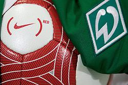 """04.03.2010, Weserstadion, Bremen, GER, Werder Bremen vs VfB Stuttgart, Pressekonferenz im Bild Im Rahmen der Aktion (RED) in Kooperation mit Nike (Hauptsponsor Werder), spielt die Mannschaft beim kommenden Heimspiel gegen Stuttgart, mit einem Aufnäher auf den Trikots. Ebenfalls wird es einen speziellen Rot/Weissen Ball geben und die Spieler werden mit Oragne/Roten Trikots ins Stadion einlaufen. Ebenso werden die auch im Handel erhältlichen roten Schnürsenkeln mit dem Motto """"LACE UP, SAVE LIVES"""" spielen. EXPA Pictures © 2010, PhotoCredit: EXPA/ nordphoto/ Arend / SPORTIDA PHOTO AGENCY"""