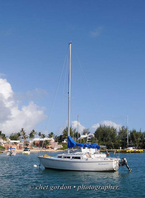 A sailboat and other boats moored in Mangrove Bay near the Cambridge Beaches Resort & Spa in Somerset Parish, Bermuda on Saturday, September 22, 2012.