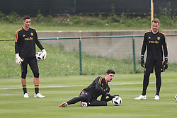 June 5, 2018 - Tubize, BELGIUM - Belgium's goalkeeper Koen Casteels, Belgium's goalkeeper Thibaut Courtois and Belgium's goalkeeper Simon Mignolet pictured during a training session of the Belgian national soccer team Red Devils, Tuesday 05 June 2018, in Tubize. The Red Devils started their preparations for the upcoming FIFA World Cup 2018 in Russia. BELGA PHOTO BRUNO FAHY (Credit Image: © Bruno Fahy/Belga via ZUMA Press)