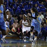 New York Liberty Guard Chelsea Hopkins (1) dribbles up court in the fourth period of a WNBA preseason basketball game between the Chicago Sky and the New York Liberty Friday, May. 22, 2015 at The Bob Carpenter Sports Convocation Center in Newark, DEL