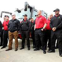 Tupelo Firefighters gather at Firehouse Subs as they are have a UTV vauled at $19,000.00 donated to the department on Thursday morning at the Firehouse restaurant location in Tupelo.