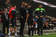 Karl Robinson Manager of Milton Keynes Dons (3rd right) is sent to the stands by Referee Andre Marriner (2nd right) against Bradford City during the Sky Bet League 1 match at stadium:mk, Milton Keynes<br /> Picture by David Horn/Focus Images Ltd +44 7545 970036<br /> 16/09/2014
