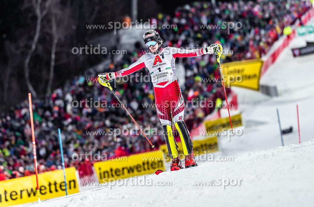 "29.01.2019, Planai, Schladming, AUT, FIS Weltcup Ski Alpin, Slalom, Herren, 1. Lauf, im Bild Manuel Feller (AUT) // Manuel Feller of Austria DNF his 1st run of men's Slalom ""the Nightrace"" of FIS ski alpine world cup at the Planai in Schladming, Austria on 2019/01/29. EXPA Pictures © 2019, PhotoCredit: EXPA/ JFK"