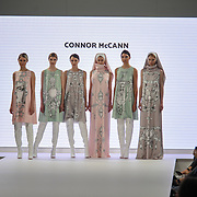 Designer Connor McCann showcases lastest collection of Bath Spa University at the Graduate Fashion Week 2018, 4 June 4 2018 at Truman Brewery, London, UK.