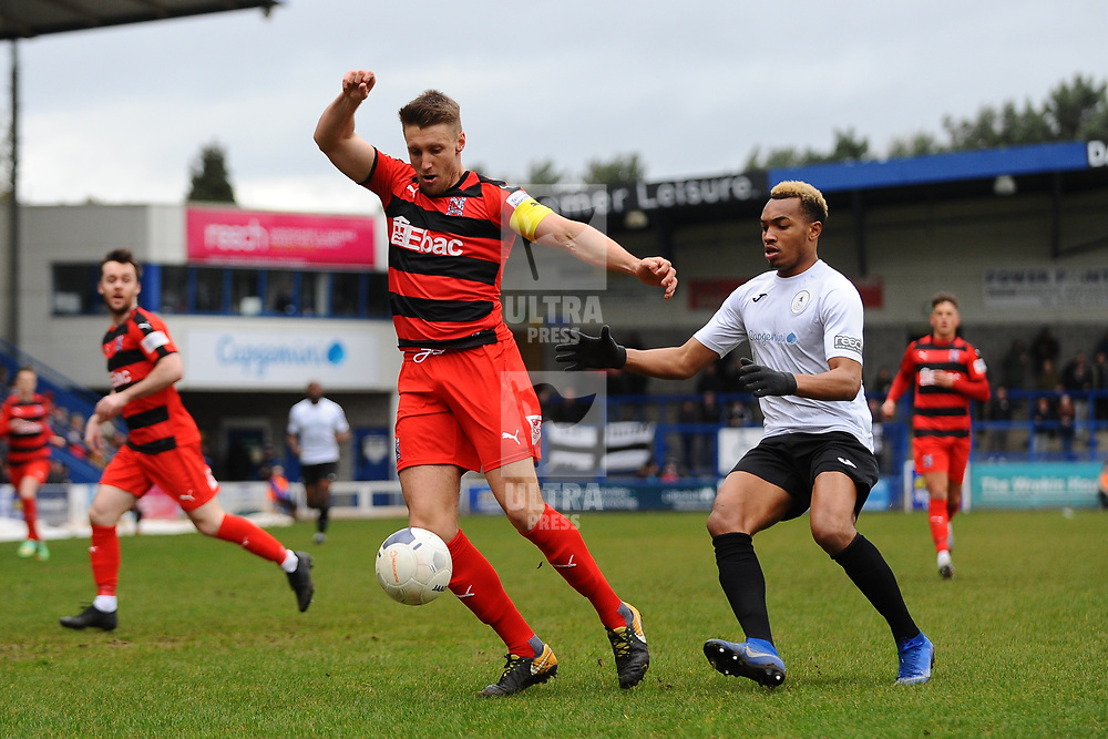 TELFORD COPYRIGHT MIKE SHERIDAN Terrance Gilbraith holds off Marcus Dinanga of Telford during the Vanarama Conference North fixture between AFC Telford United and Darlington at The New Bucks Head on Saturday, March 7, 2020.<br /> <br /> Picture credit: Mike Sheridan/Ultrapress<br /> <br /> MS201920-049