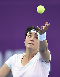 DOHA, Feb. 12, 2018  Ons Jabeur of Tunisia serves during the single's first round match against Duan Yingying of China at the 2018 WTA Qatar Open in Doha, Qatar, on Feb. 12, 2018. Duan Yingying won 2-0. (Credit Image: © Nikku/Xinhua via ZUMA Wire)
