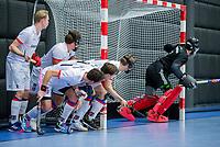 ROTTERDAM  - NK Zaalhockey,   halve finale heren Oranje Rood-SCHC (SCHC wint en plaatst zich voor de finale)   strafcorner, COPYRIGHT KOEN SUYK