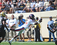 Ole Miss' Ja-Mes Logan (85) has a pass knocked loose by Vanderbilt defensive back  Trey Wilson (8) in Nashville, Tenn. on Saturday, September 17, 2011. Vanderbilt won 30-7..