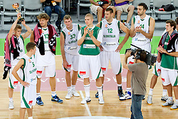 Luka Rupnik of Slovenia, Jaka Lakovic of Slovenia, Miha Zupan of Slovenia, Zoran Dragic of Slovenia, Edo Muric of Slovenia, Goran Jagodnik of Slovenia, Mirza Begic of Slovenia after the friendly basketball match between National teams of Slovenia and Bosnia and Hercegovina for third place at Adecco Ex-Yu Cup 2011 as part of exhibition games before European Championship Lithuania 2011, on August 9, 2011, in Arena Stozice, Ljubljana, Slovenia. Slovenia defeated BiH 59-52. (Photo by Vid Ponikvar / Sportida)