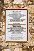 Interpretive sign at St Stephen Church, Zaton, Dalmatian Coast, Croatia