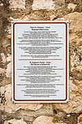 Interpretive sign at St Stephen Church, Zaton, Dalmatian Coast, Croatia