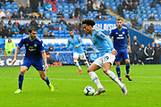 Leroy Sane (19) of Manchester City on the attack during the Premier League match between Cardiff City and Manchester City at the Cardiff City Stadium, Cardiff, Wales on 22 September 2018.