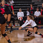27 August 2016: The San Diego State Aztecs took on the Michigan State Spartans in game two of the Aztec Invitational at Peterson Gym on the campus of SDSU. DS/L Alexa Saba (17) digs the ball on serve in the  third set. The Aztecs lost 3-1 to the Spartans. www.sdsuaztecphotos.com