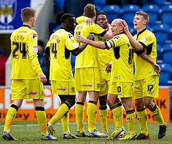 COLCHESTER, ENGLAND - Saturday, February 23, 2013: Tranmere Rovers' Jean-Louis Akpa Akpro celebrates scoring the second goal against Colchester United with team-mates Ash Taylor, Zoumana Bakayogo, Paul Corry, captain Andy Robinson and Max Power during the Football League One match at the Colchester Community Stadium. (Pic by Vegard Grott/Propaganda)