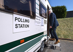 © Licensed to London News Pictures. 03/04/2013.Nottingham, UK. A caravan is used in the village of Hockerton, Nottinghamshire today as a polling station..Voters from across England are going to the polls for council elections..Elections are being held in 27 English county councils and seven unitary authorities, last contested in 2009,  Photo credit : Tom Maddick/LNP