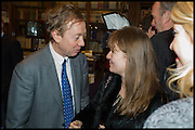 GEORDIE GREIG; CATHERINE OSTLER, Book party for 'The Liar's Ball' by Vicky Ward hosted by  Sir Evelyn  de Rothschild at Henry Sotheran's, 2 Sackville Street London. 25 November 2014