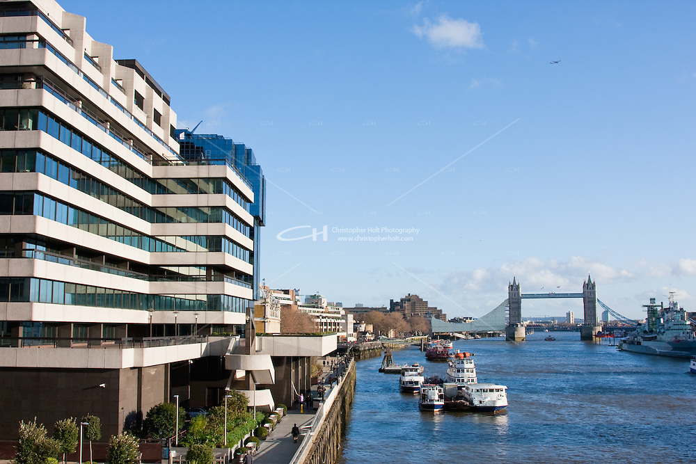 tower bridge and the thames river from london bridge