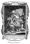 Adoration of the Sheperds'. Mary, Joseph, the Shepherds and the Christ child in swaddling bands in the stable. 'Bible' Luke 2.16.  Copperplate engraving c1808