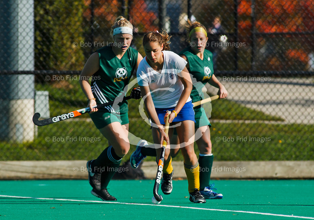 23 October 2011:  Action during a women's field hockey game between the University of British Columbia Thunderbirds and the University of Alberta Pandas at Thunderbird Park, University of British Columbia, Vancouver, BC, Canada.  Final Score:  UBC 1 Alberta 0.  UBC Won the Canada West title the day before but was awarded the Championship banner today.    ****(Photo by Bob Frid/UBC Athletics) 2011 All Rights Reserved****