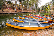 Israel, Upper Galilee, canoes in the Jordan river