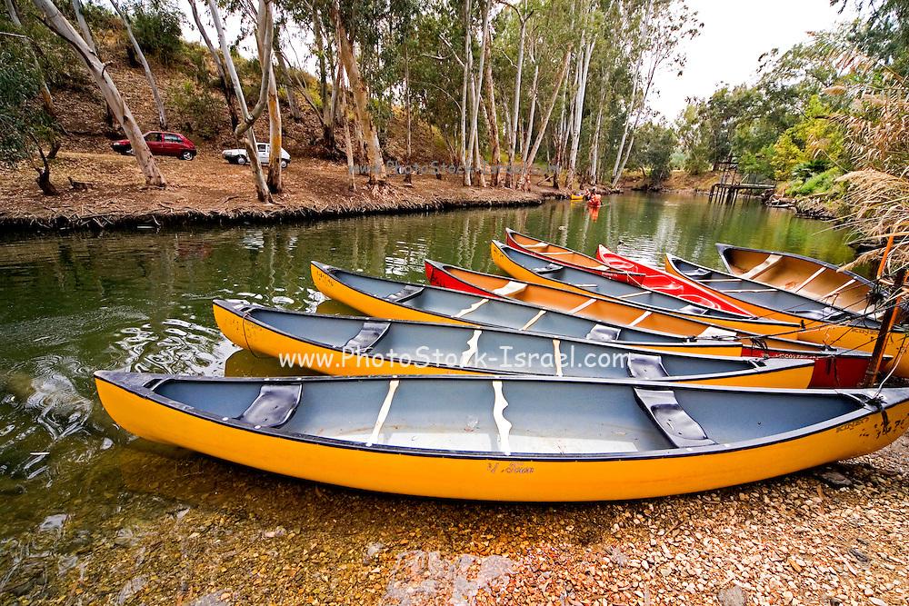 Israel, Upper Galilee, canoes in the Jordan river