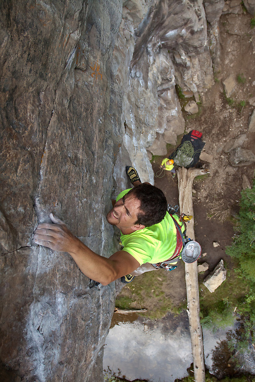 Rock Climbing - Sam Lambert on Nobody's  Girl - 5.12a at Lake Louise