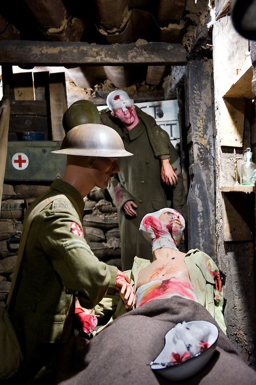 Mannequins dressed with British Expeditionary Force uniforms of WWI in what appears to be a trench hospital at the the Somme Trench Museum in Albert (‪Musée Somme 1916‬)The museum is in the old crypts under the basilica of Albert and shows scenes of trench life from WWI, original uniforms, war paraphernalia  and other items rescued from the fields.