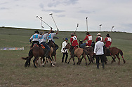 Mongolia. breeders team playing polo during first polo championship in  , in Ikh Ud near  Hahorin -    /   premier championnat de Polo de Mongolie a IKH UD pres de  karakorum - Mongolie