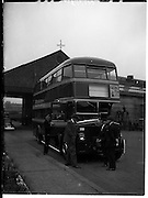 23/10/1958<br /> 10/23/1958<br /> 23 October 1958<br /> New Leyland double deck buses for CIE at Broadstone Depot, Dublin.  Bus inspected by CIE General Manager.