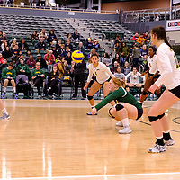 4th year libero  Taylor Ungar (13) of the Regina Cougars in action during the Women's Volleyball Home Game on November 17 at University of Regina. Credit Matt Johnson/©Arthur Images 2017